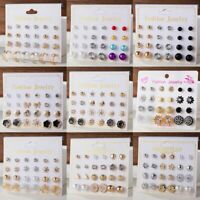 12Pairs/set Fashion Zircon Pearl Earrings Sets Women Girls Punk Ear Stud Jewelry