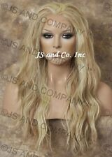 Human Hair Blend Full Lace Front Wig Loose Wavy Heat OK WBYV  Blonde Mix 613-27
