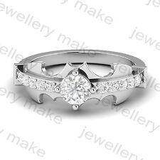 Certified Holy Smokes Batman Ring Round Wedding Engagement 14K White Gold Ring