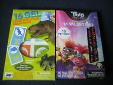 Valentines Day ~Dino Gel Cling Cards + Trolls World Cards with Pencils (2 Boxes)