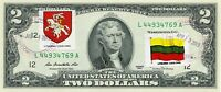 $2 DOLLARS 2013 STAMP CANCEL POSTAL FLAG FROM LITHUANIA LUCKY MONEY $125