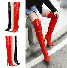 Women's Patent Leather Overknee Thigh Boots Pointed High Heel Clubwear Size 4-13