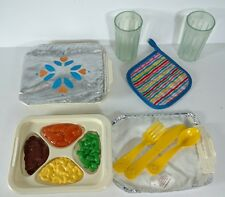 Vintage Fisher Price TV Dinner Fun With Food Pretend Play 1980's 16 PC Lot
