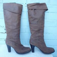 BRONX Leather Boots Size Uk 7.5 Eur 41 Womens Sexy Pull on Pirate Brown Boots
