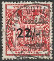"""NEW ZEALAND 1945 """"ARMS"""" SG F216 22/- ON 22s SCARLET FISCAL VERY FINE USED CDS"""