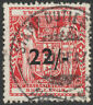 "NEW ZEALAND 1945 ""ARMS"" SG F216 22/- ON 22s SCARLET FISCAL VERY FINE USED CDS"