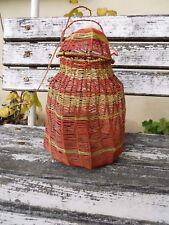 Ancienne nasse boite porte oeufs objet déco en fils de fer tressé de couleurs