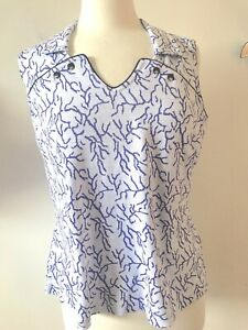 JAMIE SADOCK LARGE Sleeveless Golf Top Shirt w/ Collar Purple Scatter Design L