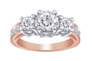 2.13 Ct Round Brilliant Cut Three Diamond Ring Solid 14k Rose Gold