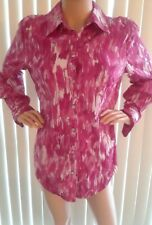 Chico's Top Size 2 Pink Print Women's Shirt