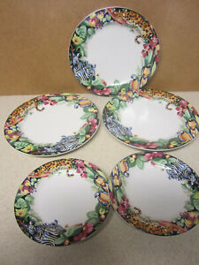 LOT OF  SUE ZIPKIN VITROMASTER RAIN FOREST PLATE  2 SALAD  3 DINNER