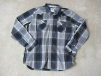 Levis Pearl Snap Long Sleeve Shirt Adult Extra Large Gray Blue Plaid Western Men