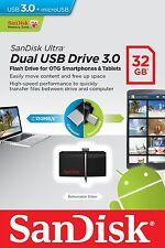 SanDisk 32GB OTG Dual Ultra USB 3.0 Micro Flash Thumb Drive Memory SDDD2-032G