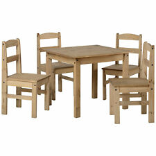 Natural Wax Finish Square Dining Table and Chair Set with 4 Seats