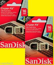 2 x SanDisk Cruzer Fit 16gb USB Stick SDCZ 33-016g-b35 NUOVO & OVP * sparpack *