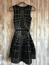 a395c2416bf0 TOPSHOP Fit & Flare Knit Polka Dot Dress S Small 2 Black White * RARE!