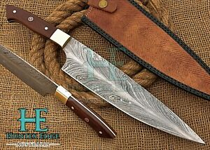 HUNTEX Custom Handmade Feather Damascus 405mm Long Rosewood Handle Kitchen Knife