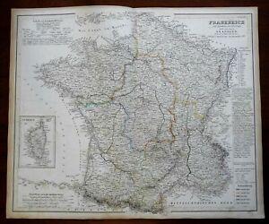 France Corsica Paris Orleans Marseilles Tours 1854 Koehler map