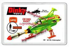 DINKY TOYS 351 UFO'S INTERCEPTOR GREEN 1970'S  RETRO JUMBO FRIDGE  MAGNET