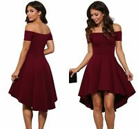 Ladies Off Shoulder Burgundy Evening Flared Swing Skater Skirt Dress 8 10 12 14