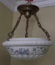 ANTIQUE HANGING  LAMP CREAM WITH HAND PAINTED BLUE GREEN FLORAL PATTERN 3 BULB
