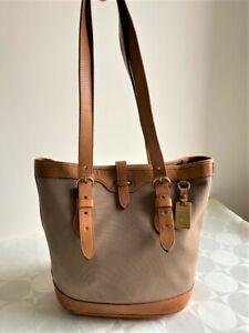 Vintage DOONEY & BOURKE Tan canvas Tan leather trim shoulder bucket handbag Bag