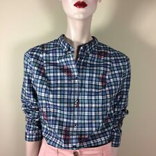 0039 ITALY Damen Bluse L 40 Blau Kariert Paisley Oberteil Top Casual Style Basic