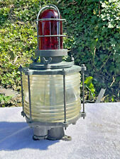 Rare* Vintage* Solid Brass Nautical Piling Light Fresnel Lens & Red Top