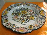 Bellissimo Grande Piatto Rare Ceramica C.A.M. Gubbio Dec.Fiori d 36cm h 4,50cm