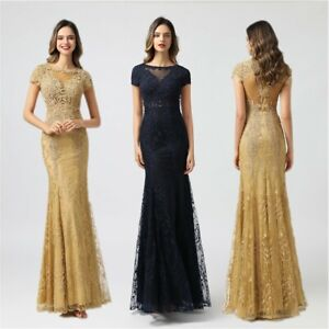 Gold Lace Applique Formal Mother of Bridal Prom Gown Long Women Evening Dresses