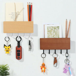 Wooden Wall Mount Key Rack Wall Home Organizer Shelf Storage Box Holder Hanger