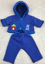 Fits AG Doll Bitty Baby Twin Zippered Blue Dog Hoodie & Pants Small Small World