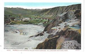 YELLOWSTONE NATIONAL PARK,  Mammoth Hot Springs Valley From Terraces Postcard