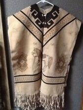 Vintage Suede Leather Poncho With Fringes Horse Western Style Navajo