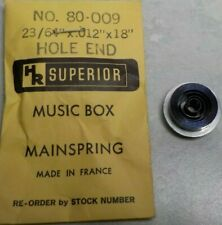 "New listing Superior Clock Mainspring Music Box No. 80-009 23/64"" X 012 X 18"" Hole End"