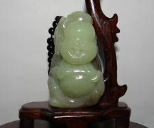 "2.7""China Certified Nature Nephrite Hetian Jade Happy Buddha and Lad Pendants"