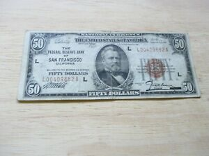 1929 $50 THE FEDERAL RESERVE BANK OF SAN FRANCISCO,CALIFORNIA