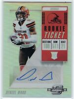 2018 Panini Optic Contenders #143 Denzel Ward Silver Prizm Rookie Auto Browns