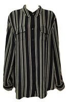 db established 1962 Women's Blouse Plus 1X Striped Long Sleeve Button Down Shirt