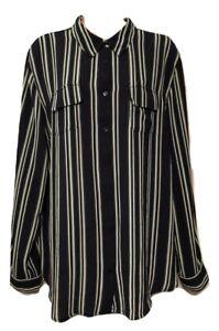 db established 1962 Women's Blouse Plus 1X Striped Long Sleeve Button Down Shirt