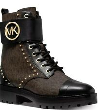 New Michael Kors tatum leather combat boots brown black logo mono 8.5 studded