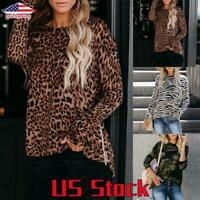 Women Long Sleeve Tops Leopard Print T Shirt Ladies Loose Casual Blouse Pullover