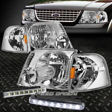 CHROME HOUSING HEADLIGHT+CORNER SIGNAL+LED FOG LIGHT FOR 02-05 FORD EXPLORER SUV