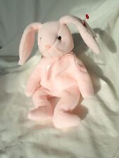 HOPPITY the Pink Easter Bunny 1996 TY Beanie Babies - original, surface errors
