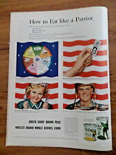 1944 Jolly Green Giant Peas Niblets Corn Ad How to Eat Like a Patriot