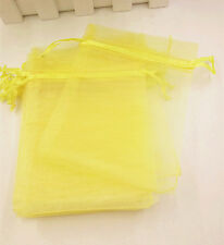 20pcs Organza Gift Bags Wedding Christmas Party  Packaging Pouches gift(yellow)