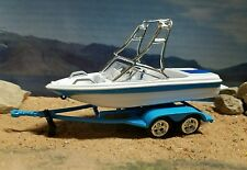 Speed ski fishing Boat and trailer farm diorama Hitch tow behind 4x4 truck DCP