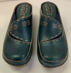 Women's Spring Step L'Artiste Chino Leather Clogs Shoes Blue Size 39 US 8.5 NIB