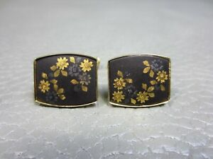 Vintage Damascene Floral Flower Yellow Gold Plated Cuff Links