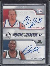 AL JEFFERSON CHRIS KAMAN 2008-09 SP AUTHENTIC SIGN OF THE TIMES 2 DUAL AUTO /50